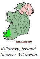 A map of Ireland highlighting County Kerry and Killarney.