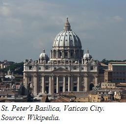 A view of St. Peter's Basilica in Rome.