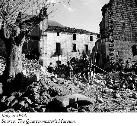 A picture of bombed-out ruins in Italy, 1943