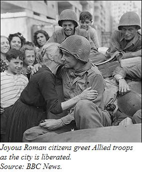 Roman citizens greeting Allied soldiers after the Liberation of Rome.